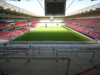 Der Blick von der Fantribüne ins neue Stadion